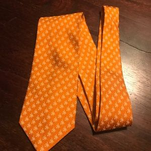Salvatore Ferragamo Orange Tie with Goldfish